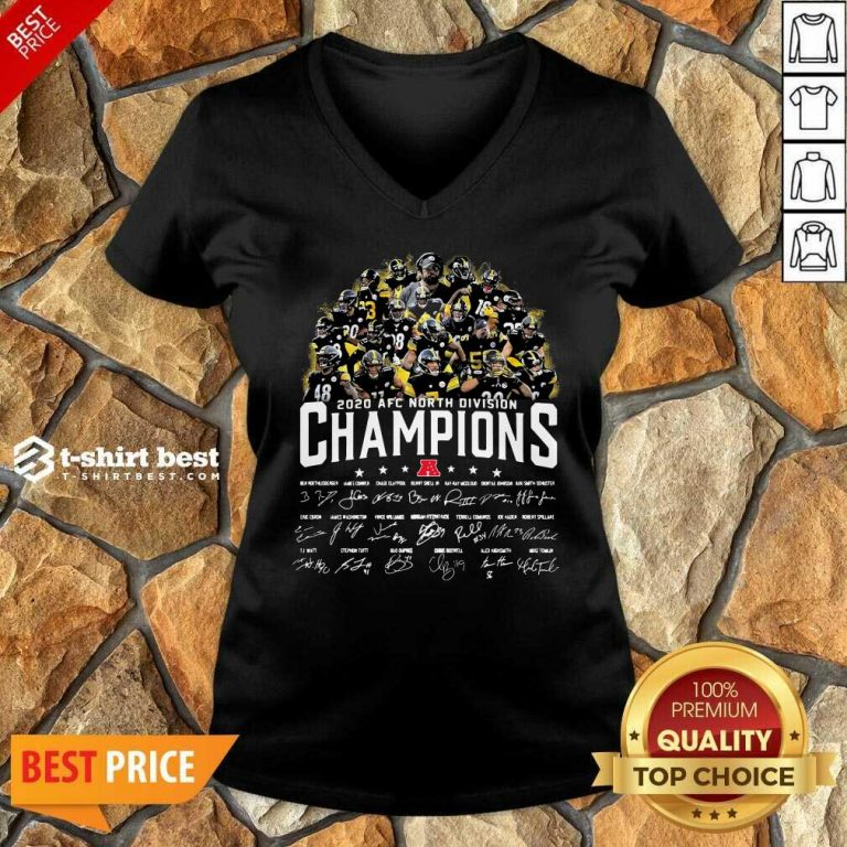 Pittsburgh Steelers 2020 AFC North Division Champion Signatures V-neck - Design By 1tees.com