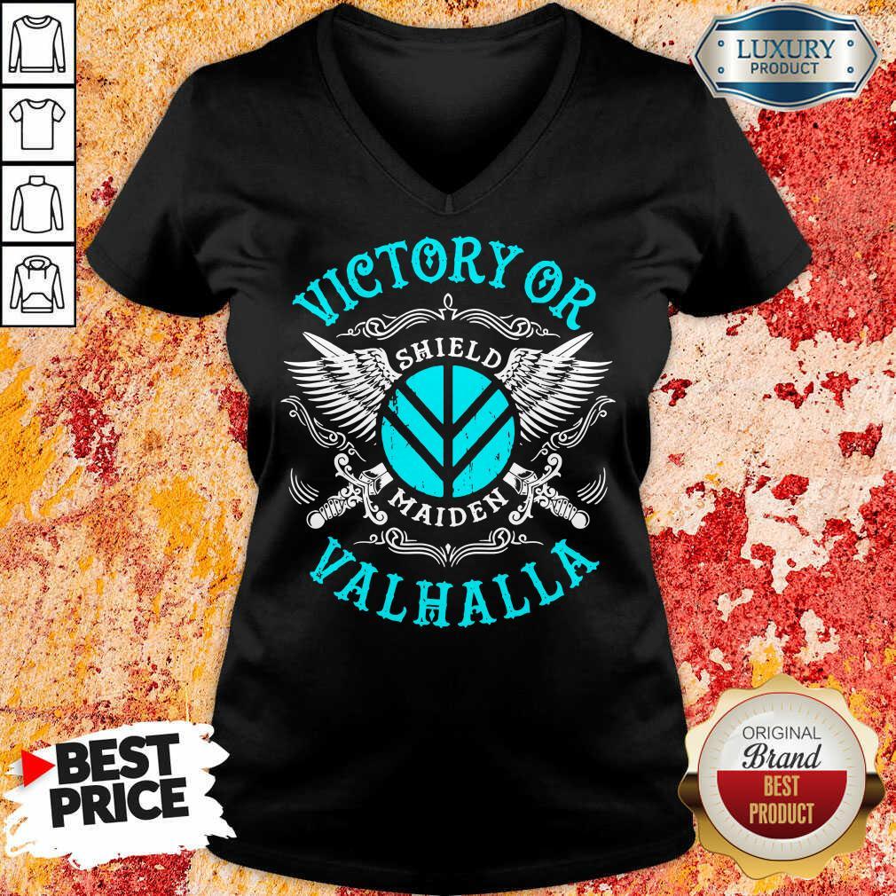 Unhappy Victory Or Valhalla Shield Maiden 7 V-neck