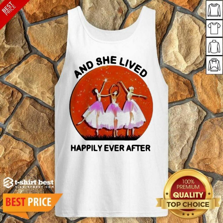 3 Ballet Girls And She Lived Happily Ever After Tank Top - Design by T-shirtbest.com