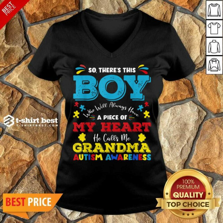 Boy Calls Me Grandma 9 Autism Awareness V-neck - Design by T-shirtbest.com