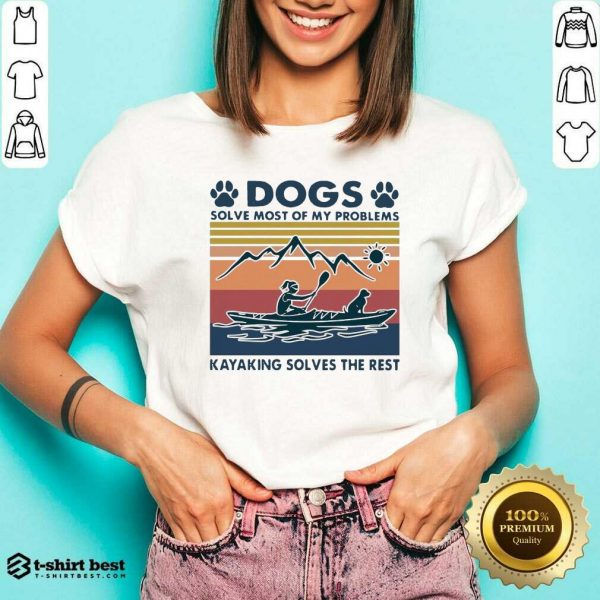 Dogs Solve My Problems 7 Kayaking Solves The Rest V-neck - Design by T-shirtbest.com