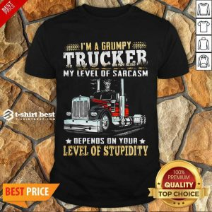 I Am A Grumpy Trucker 5 Level Of Stupidity Shirt - Design by T-shirtbest.com