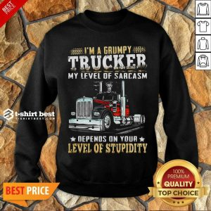 I Am A Grumpy Trucker 5 Level Of Stupidity Sweatshirt - Design by T-shirtbest.com