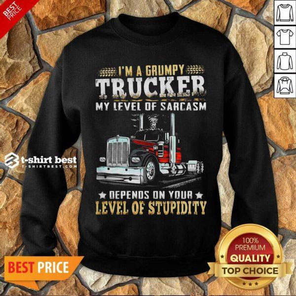 I Am A Grumpy Trucker 5 Level Of Stupidity Sweatshirt - Design by T-shirtbest.com