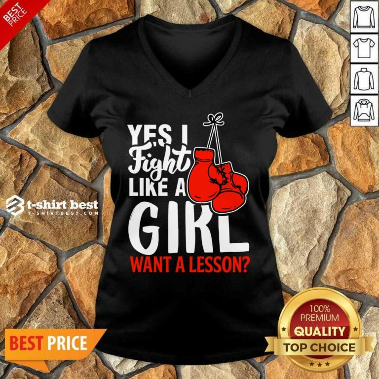 I Fight Like A Girl 1 Boxing V-neck - Design by T-shirtbest.com