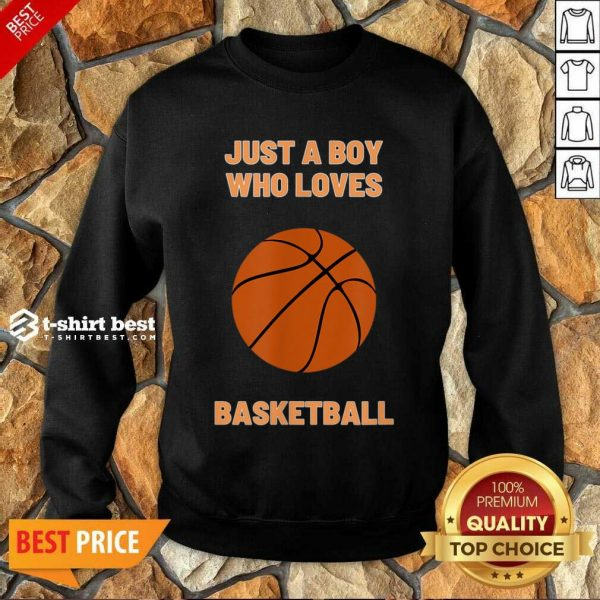 Just A Boy Who Loves 1 Basketball Sweatshirt - Design by T-shirtbest.com