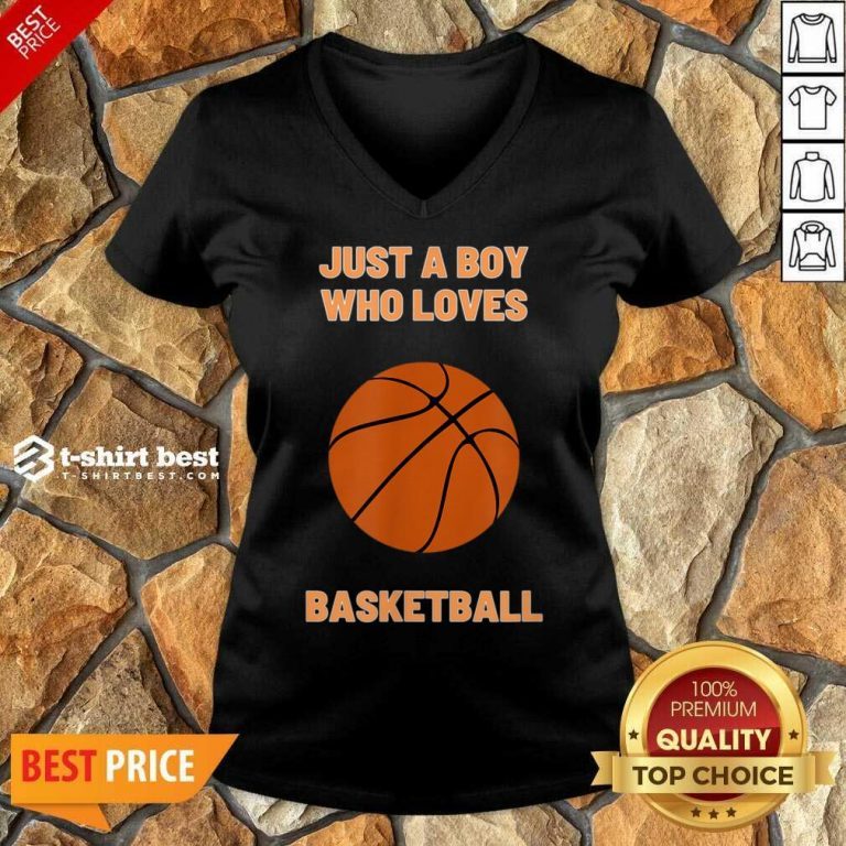 Just A Boy Who Loves 1 Basketball V-neck - Design by T-shirtbest.com