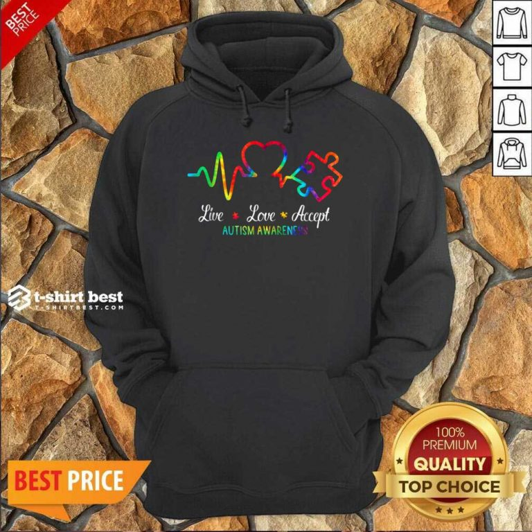 Live Love Accept 2 Autism Awareness Tie Dye Hoodie - Design by T-shirtbest.com