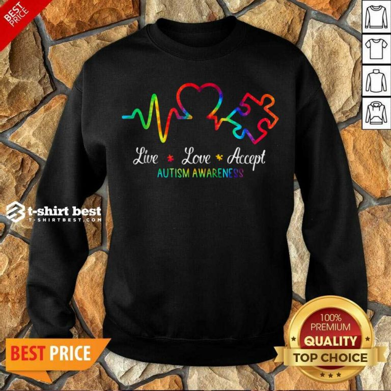 Live Love Accept 2 Autism Awareness Tie Dye Sweatshirt - Design by T-shirtbest.com