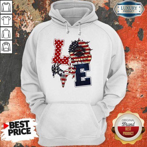 Sunflower Love American Flag Hoodie