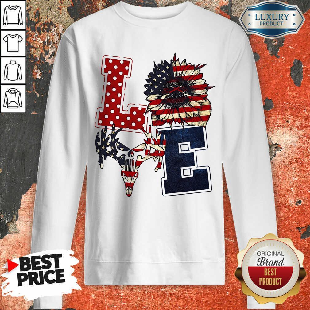 Sunflower Love American Flag Sweatshirt