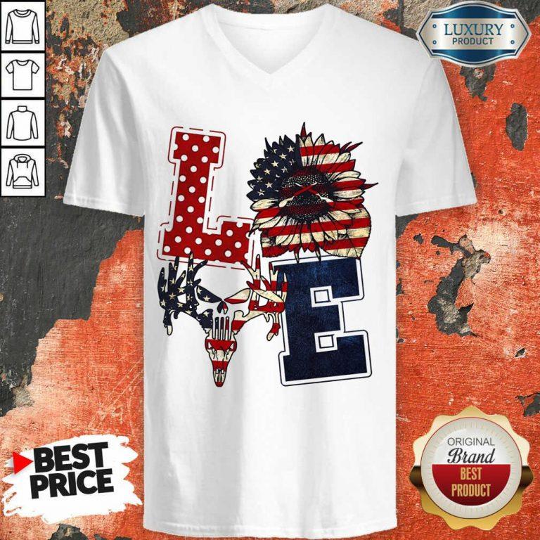 Sunflower Love American Flag V-neck